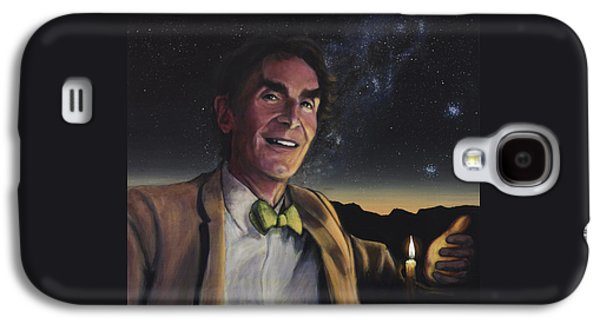 Cosmos Paintings Galaxy S4 Cases - Bill Nye - A Candle in the Dark Galaxy S4 Case by Simon Kregar