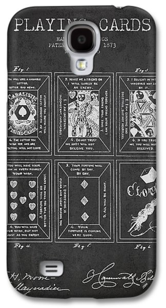 Card Digital Art Galaxy S4 Cases - Billings Playing Cards Patent Drawing From 1873 - Dark Galaxy S4 Case by Aged Pixel