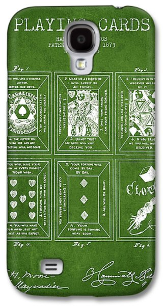 Card Digital Art Galaxy S4 Cases - Billings Playing Cards Patent Drawing From 1873 - Green Galaxy S4 Case by Aged Pixel