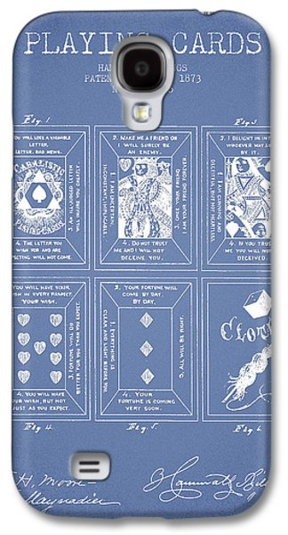 Card Digital Art Galaxy S4 Cases - Billings Playing Cards Patent Drawing From 1873 - Light Blue Galaxy S4 Case by Aged Pixel