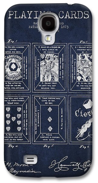 Billings Playing Cards Patent Drawing From 1873 - Navy Blue Galaxy S4 Case by Aged Pixel