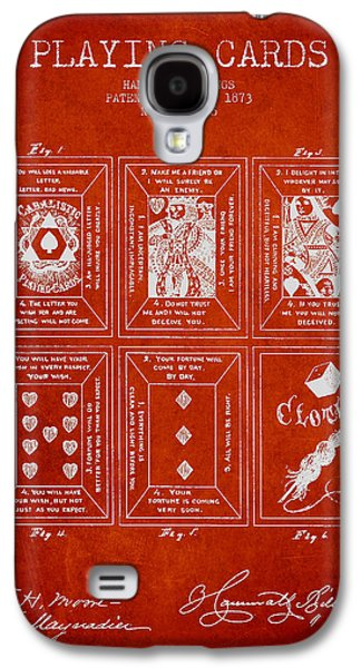 Card Digital Art Galaxy S4 Cases - Billings Playing Cards Patent Drawing From 1873 - Red Galaxy S4 Case by Aged Pixel