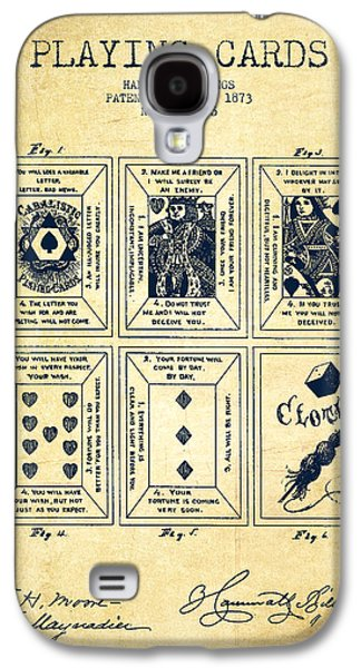 Card Digital Art Galaxy S4 Cases - Billings Playing Cards Patent Drawing From 1873 - Vintage Galaxy S4 Case by Aged Pixel