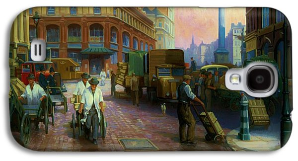 Streetscenes Paintings Galaxy S4 Cases - Billingsgate fish market. Galaxy S4 Case by Mike  Jeffries