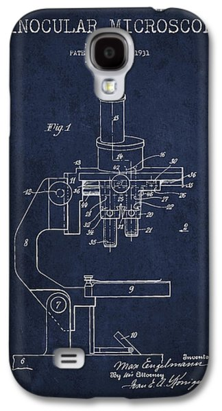 Microscope Galaxy S4 Cases - Binocular Microscope Patent Drawing from 1931 - Navy Blue Galaxy S4 Case by Aged Pixel