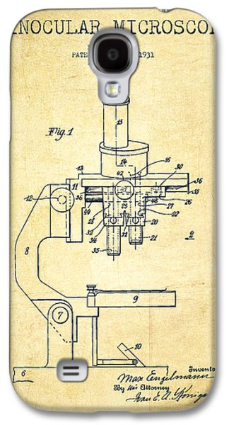 Microscope Galaxy S4 Cases - Binocular Microscope Patent Drawing from 1931-Vintage Galaxy S4 Case by Aged Pixel