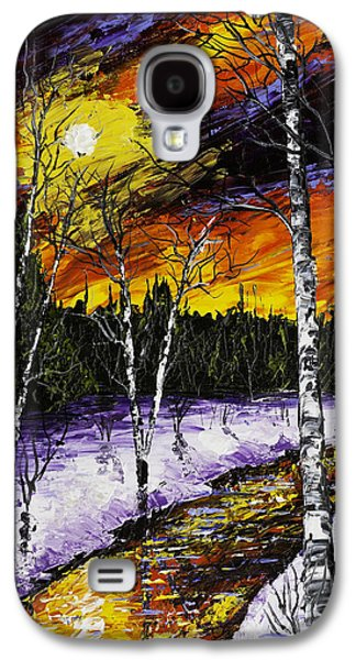 Snow Landscape Galaxy S4 Cases - Birch Trees And Stream In Winter Galaxy S4 Case by Keith Webber Jr