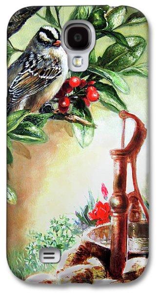 Garden Scene Galaxy S4 Cases - Bird and berries Galaxy S4 Case by Gina Femrite