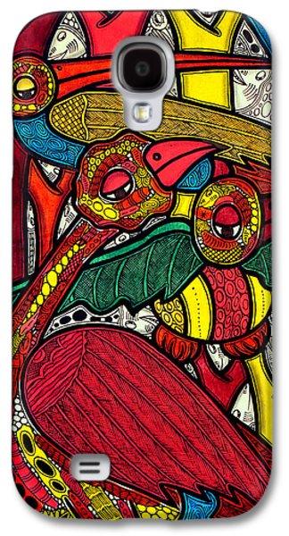 Black Bird.flying Art Paintings Galaxy S4 Cases - Bird life Galaxy S4 Case by Muktair Oladoja