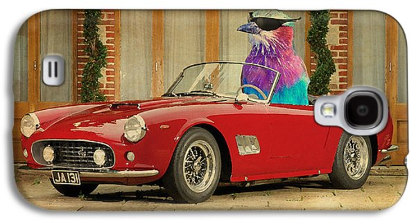 Posters On Mixed Media Galaxy S4 Cases - Bird on Ferrari 250 GT SWB California Spyder 1960 Galaxy S4 Case by Pablo Franchi
