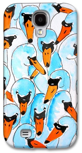 Yellow Beak Paintings Galaxy S4 Cases - Birds all over Galaxy S4 Case by Rita Drolet