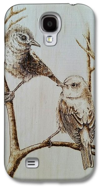 Drawing Pyrography Galaxy S4 Cases - Birds Galaxy S4 Case by Derek  Neil