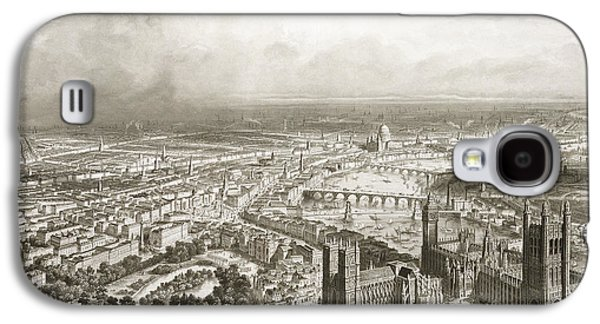 Street Drawings Galaxy S4 Cases - Birds Eye View of London from Westminster Abbey Galaxy S4 Case by Nicolas Marie Joseph Chapuy