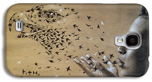 Animals Pastels Galaxy S4 Cases - Birds  Galaxy S4 Case by Fithi Abraham