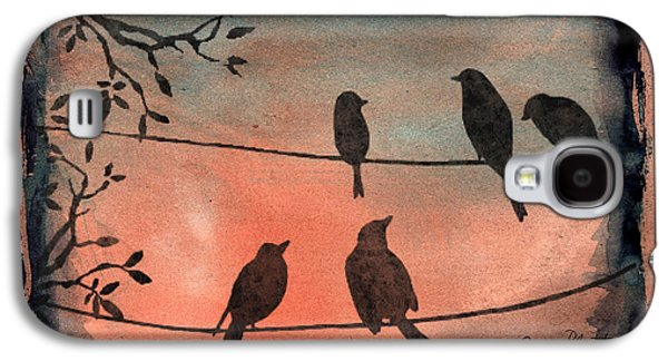 Abstract Digital Paintings Galaxy S4 Cases - Birds Gathered on Wires-6 Galaxy S4 Case by Jean Plout