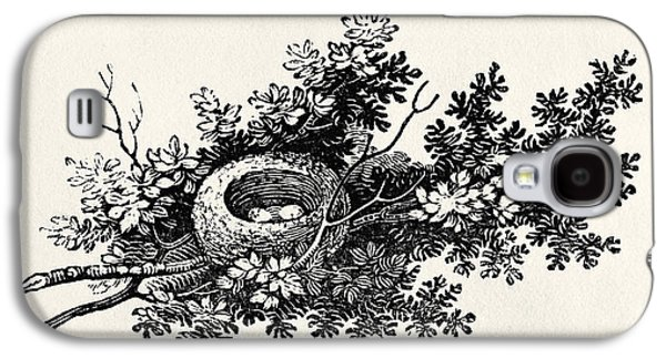Print Photographs Galaxy S4 Cases - Birds Nest, From The History Of British Birds Volume I, Pub. 1797 Wood Engraving Galaxy S4 Case by Thomas Bewick