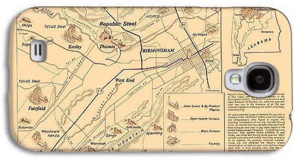 Industrial Drawings Galaxy S4 Cases - Birmingham Alabama Industrial District 1950 Galaxy S4 Case by Mountain Dreams