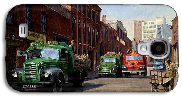 Streetscenes Paintings Galaxy S4 Cases - Birmingham fruit and veg market. Galaxy S4 Case by Mike  Jeffries