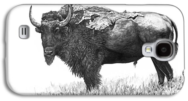 Bison Drawings Galaxy S4 Cases - Bison Galaxy S4 Case by Aaron Spong