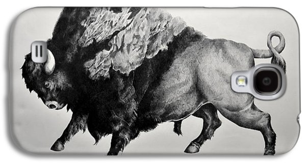 Bison Drawings Galaxy S4 Cases - Bison Galaxy S4 Case by Alex M Petersen