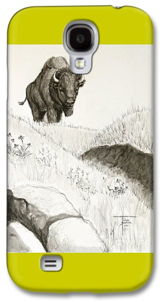 Bison Drawings Galaxy S4 Cases - Bison Approach Galaxy S4 Case by Art By - Ti   Tolpo Bader