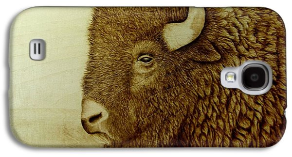 Bison Pyrography Galaxy S4 Cases - Bison Boss Galaxy S4 Case by Jo Schwartz