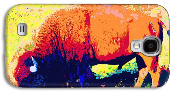 Bison Digital Art Galaxy S4 Cases - Bison Bull Grazing Galaxy S4 Case by Karon Melillo DeVega