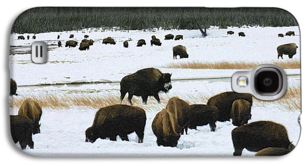 Bison Digital Art Galaxy S4 Cases - Bison Cows Browsing Galaxy S4 Case by Kae Cheatham