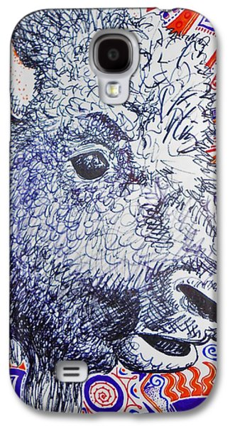 Bison Drawings Galaxy S4 Cases - Bison Designs Galaxy S4 Case by Emily Michaud