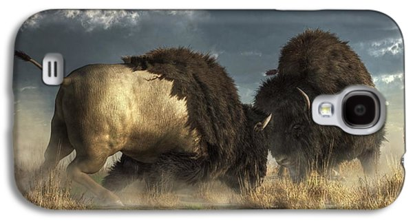 Bison Digital Art Galaxy S4 Cases - Bison Fight Galaxy S4 Case by Daniel Eskridge