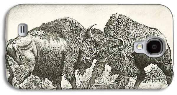 Bison Drawings Galaxy S4 Cases - Bison Fight Galaxy S4 Case by Jason Morgan