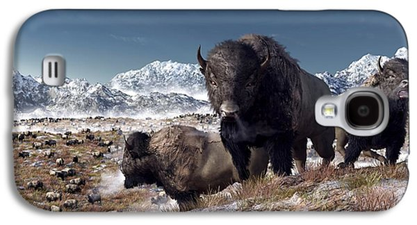 Bison Digital Art Galaxy S4 Cases - Bison Herd in Winter Galaxy S4 Case by Daniel Eskridge