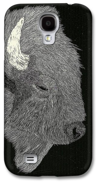 Bison Drawings Galaxy S4 Cases - Bison Galaxy S4 Case by Pat Price