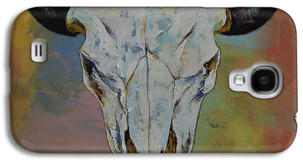 Earth Tones Galaxy S4 Cases - Bison Skull Galaxy S4 Case by Michael Creese