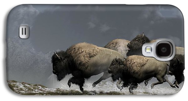 Western Art Digital Art Galaxy S4 Cases - Bison Stampede Galaxy S4 Case by Daniel Eskridge