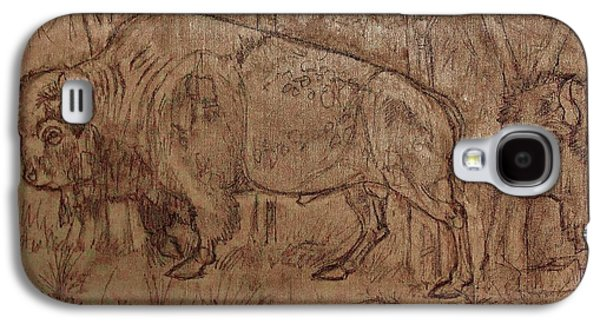 Bison Drawings Galaxy S4 Cases - Buffalo Trail 7 Galaxy S4 Case by Larry Campbell