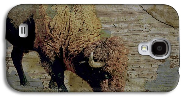 Bison Digital Art Galaxy S4 Cases - Bison Vintage Style -photo- art Galaxy S4 Case by Ann Powell