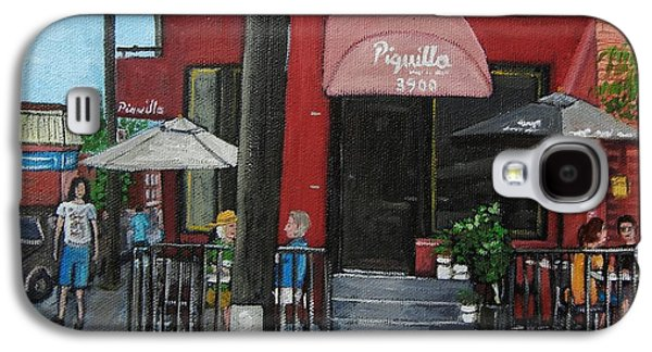 Montreal Streets Paintings Galaxy S4 Cases - Bistro Piquillo in Verdun Galaxy S4 Case by Reb Frost