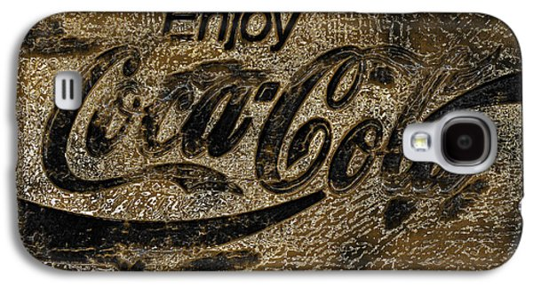 Coca-cola Signs Galaxy S4 Cases - Black and Gold Abstract Coca Cola Sign Galaxy S4 Case by John Stephens