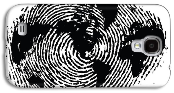 black and white ink print poster One of a Kind Global Fingerprint Galaxy S4 Case by Sassan Filsoof
