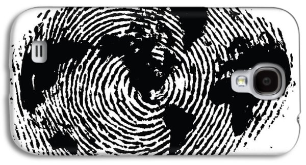 Ink Digital Galaxy S4 Cases - black and white ink print poster One of a Kind Global Fingerprint Galaxy S4 Case by Sassan Filsoof