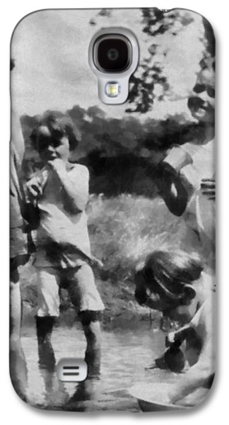 Little Girls Mixed Media Galaxy S4 Cases - Black And White Kids Playing In The Past Galaxy S4 Case by Dan Sproul