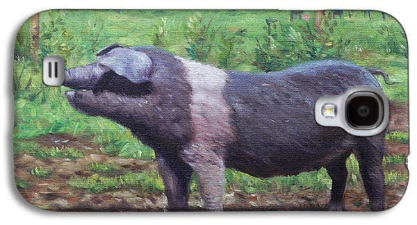 Piglets Paintings Galaxy S4 Cases - Black And White Pig on Farm Galaxy S4 Case by Martin Davey