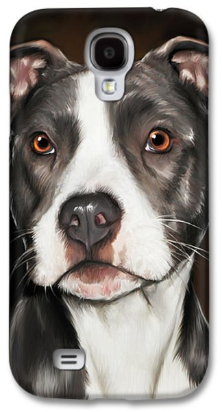 Black And White Pit Bull Terrier Galaxy S4 Case by Michael Spano