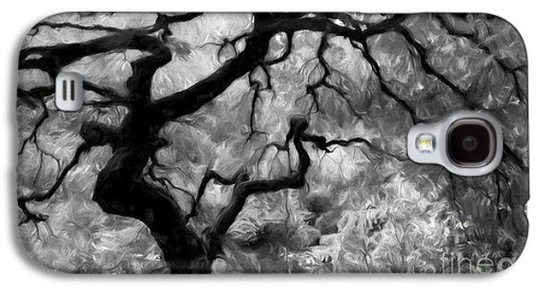 Tree Print Mixed Media Galaxy S4 Cases - Black and White Tree Art Galaxy S4 Case by Heinz G Mielke