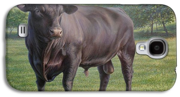 Angus Steer Paintings Galaxy S4 Cases - Black Angus Bull 2 Galaxy S4 Case by Hans Droog