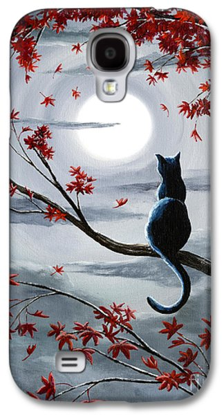 Recently Sold -  - Surreal Landscape Galaxy S4 Cases - Black Cat in Silvery Moonlight Galaxy S4 Case by Laura Iverson