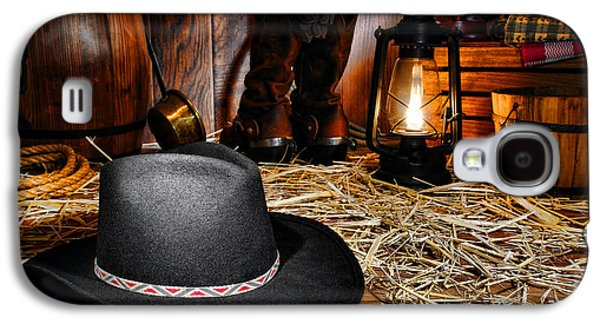 Kerosene Galaxy S4 Cases - Black Cowboy Hat in an Old Barn Galaxy S4 Case by Olivier Le Queinec