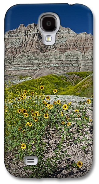 Balck Art Galaxy S4 Cases - Black-Eyed Susan Flowers in the Badlands Galaxy S4 Case by Randall Nyhof