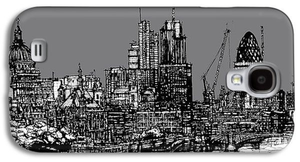 Architecture Framed Prints Galaxy S4 Cases - London skyline with grey sky Galaxy S4 Case by Lee-Ann Adendorff